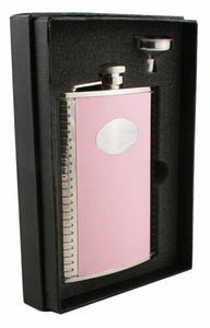 SUPERMODEL PINK LEATHER HIP FLASK GIFT SET - 8 OZ