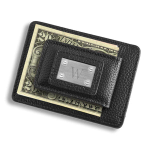 Personalized Money Clip - Card Holder - Studded Leather