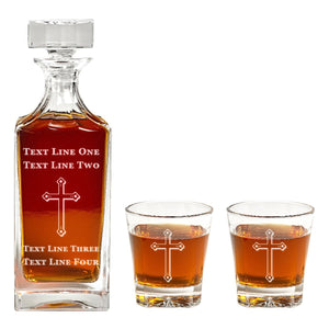 Square Engraved Cross Decanter Set