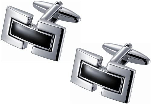 Black Enamel and Rhodium Cufflinks with Dual Brackets