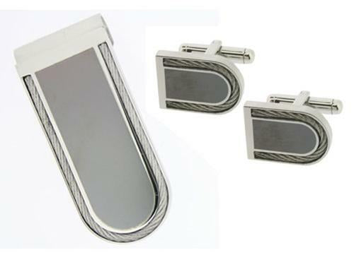 TERUEL STAINLESS STEEL MONEY CLIP AND CUFFLINKS GIFT SET
