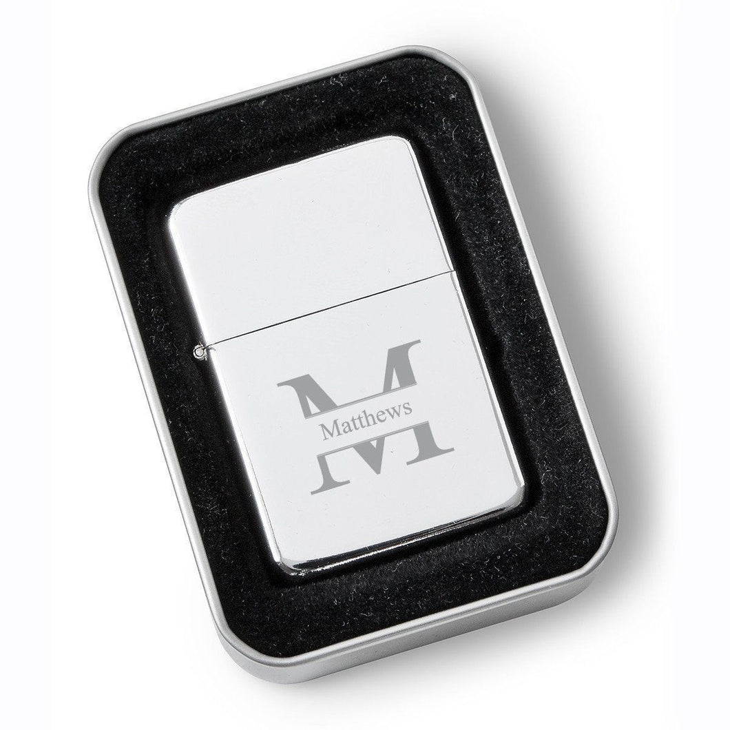Personalized Polished Chrome Stainless Steel Oil Lighter - Monogrammed Lighter