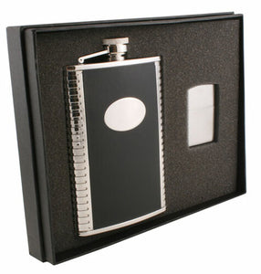 TUX BLACK LEATHER ELITE FLASK & ZIPPO LIGHTER GIFT SET
