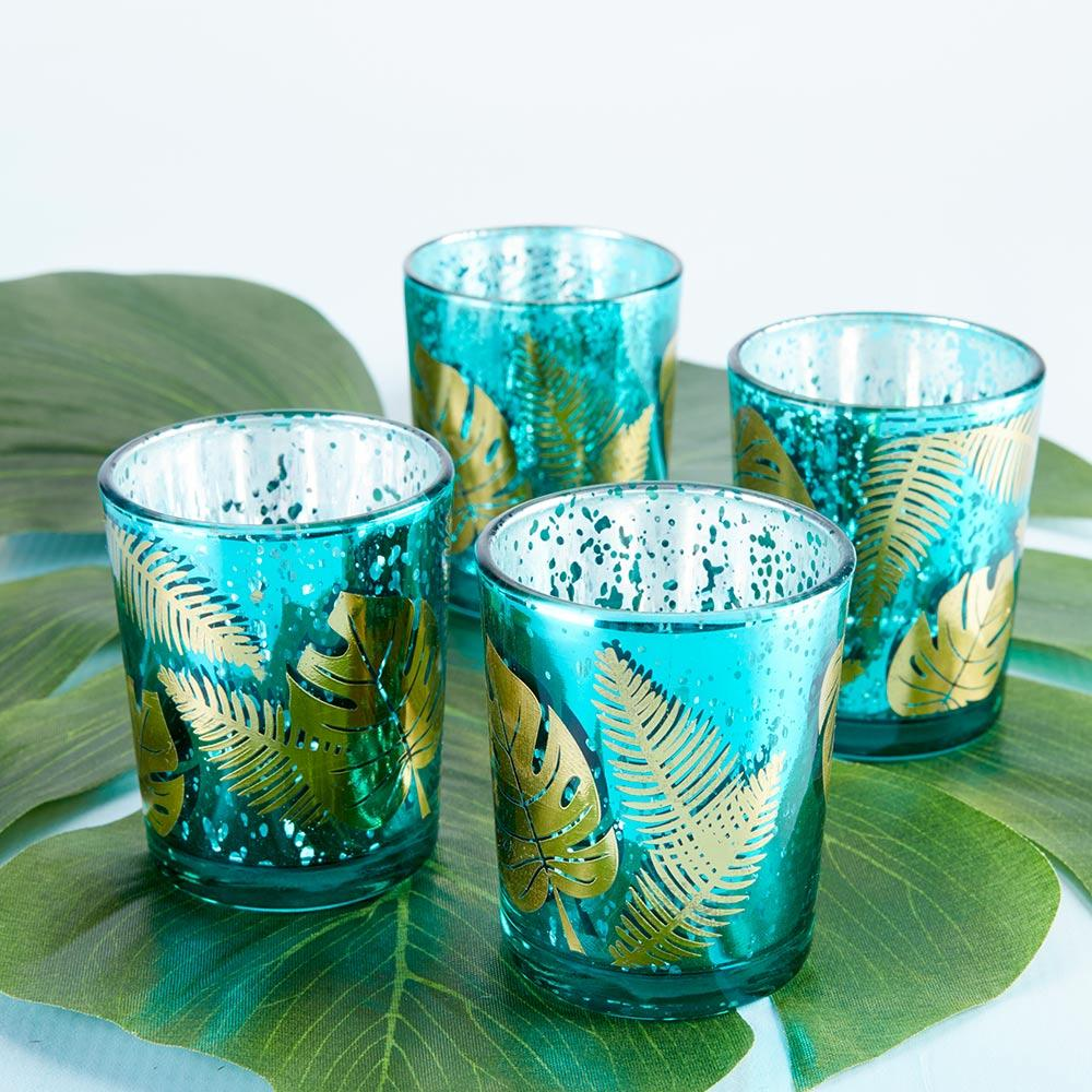 Palm Leaf Glass Votive (Set of 4)