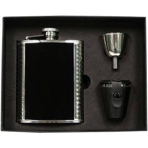 Visol Astaire Black Stainless Steel 6oz Deluxe Flask Gift Set