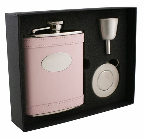 SATISFACTION PINK LEATHER 6OZ STELLAR FLASK GIFT SET