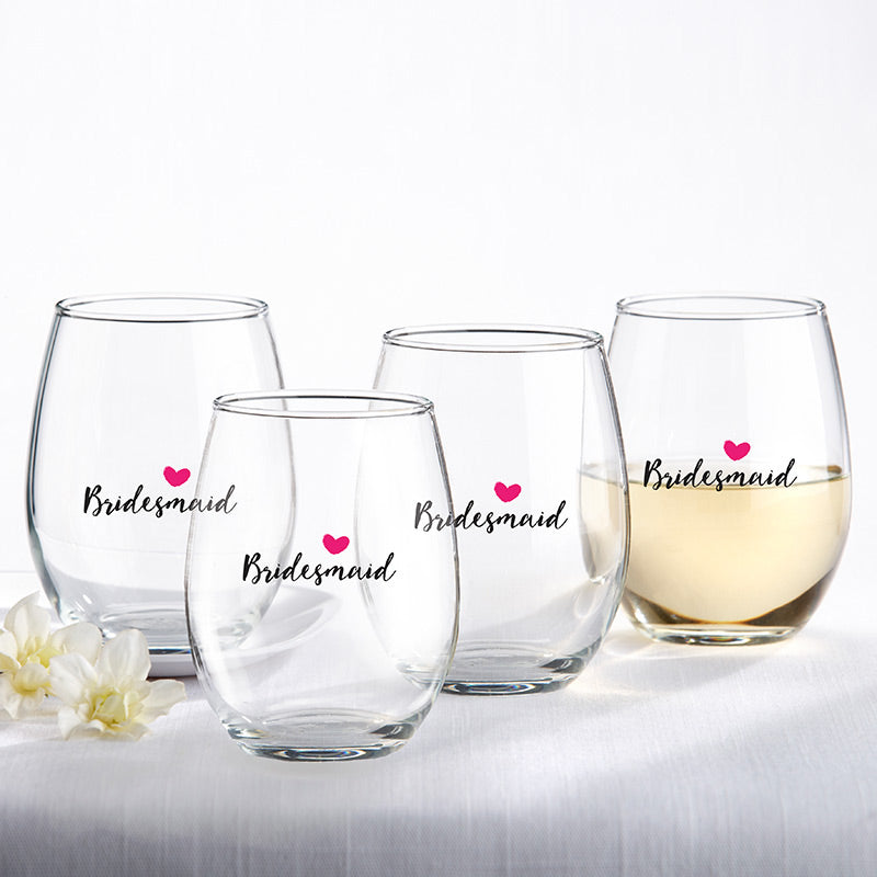BRIDESMAIDS PINK HEART 15 OZ. STEMLESS WINE GLASS (SET OF 4)
