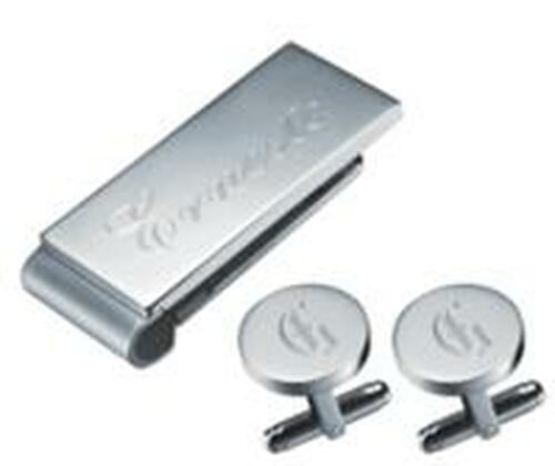DENZEL STAINLESS STEEL MONEY CLIP AND CUFFLINKS GIFT SET