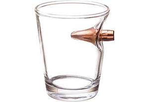 2 MONKEY SHOT GLASS WITH A .308 BULLET