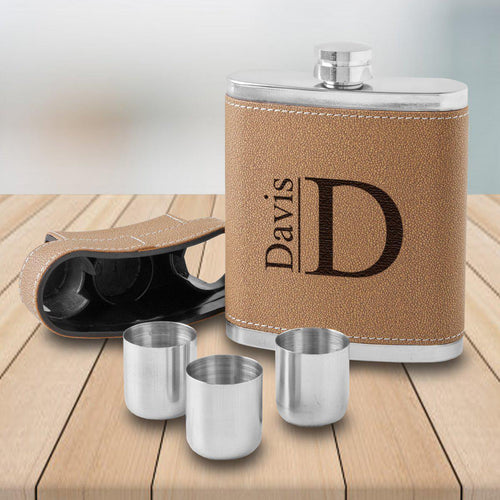 Dewsbury Flask and Shot Set with 3 Steel Shot Glasses