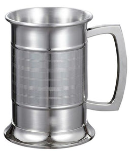 METRIC GLASS BOTTOM 16 OUNCE STAINLESS STEEL BEER MUG