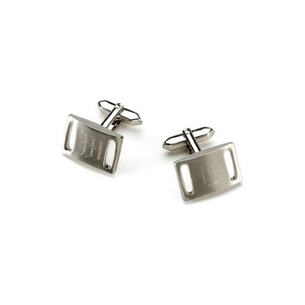 Brushed Silver Slotted Silver Cufflinks-Groomsmen Gift Store