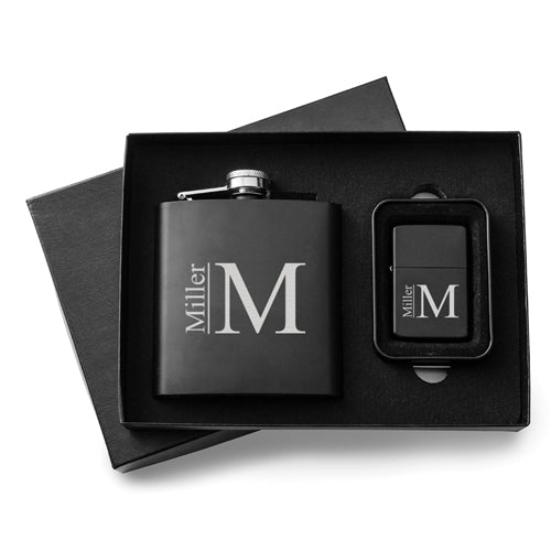 Personalized 6 oz. Matte Black Flask and Lighter Gift Set-Groomsmen Gift Store