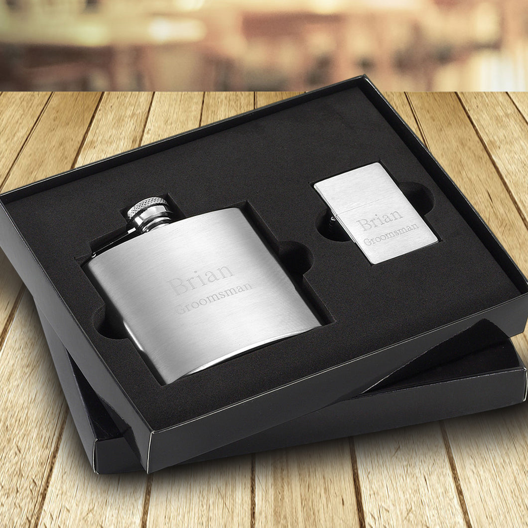 Personalized 6 oz. Brushed Flask and Lighter Gift Set-Groomsmen Gift Store