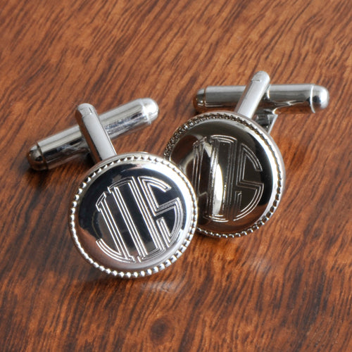 Personalized Silver Round Beaded Cufflinks-Groomsmen Gift Store