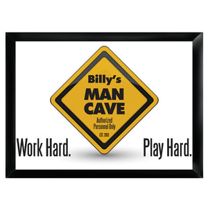 Personalized Premium Man Cave / Pub Sign - Work Hard-Groomsmen Gift Store