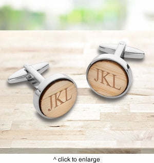 Light Brown Color Bamboo Cuff Links