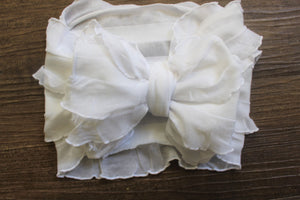 White Ruffle Stretch Headwrap