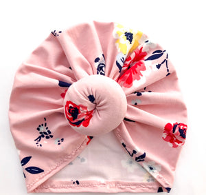 Pink floral turban hat