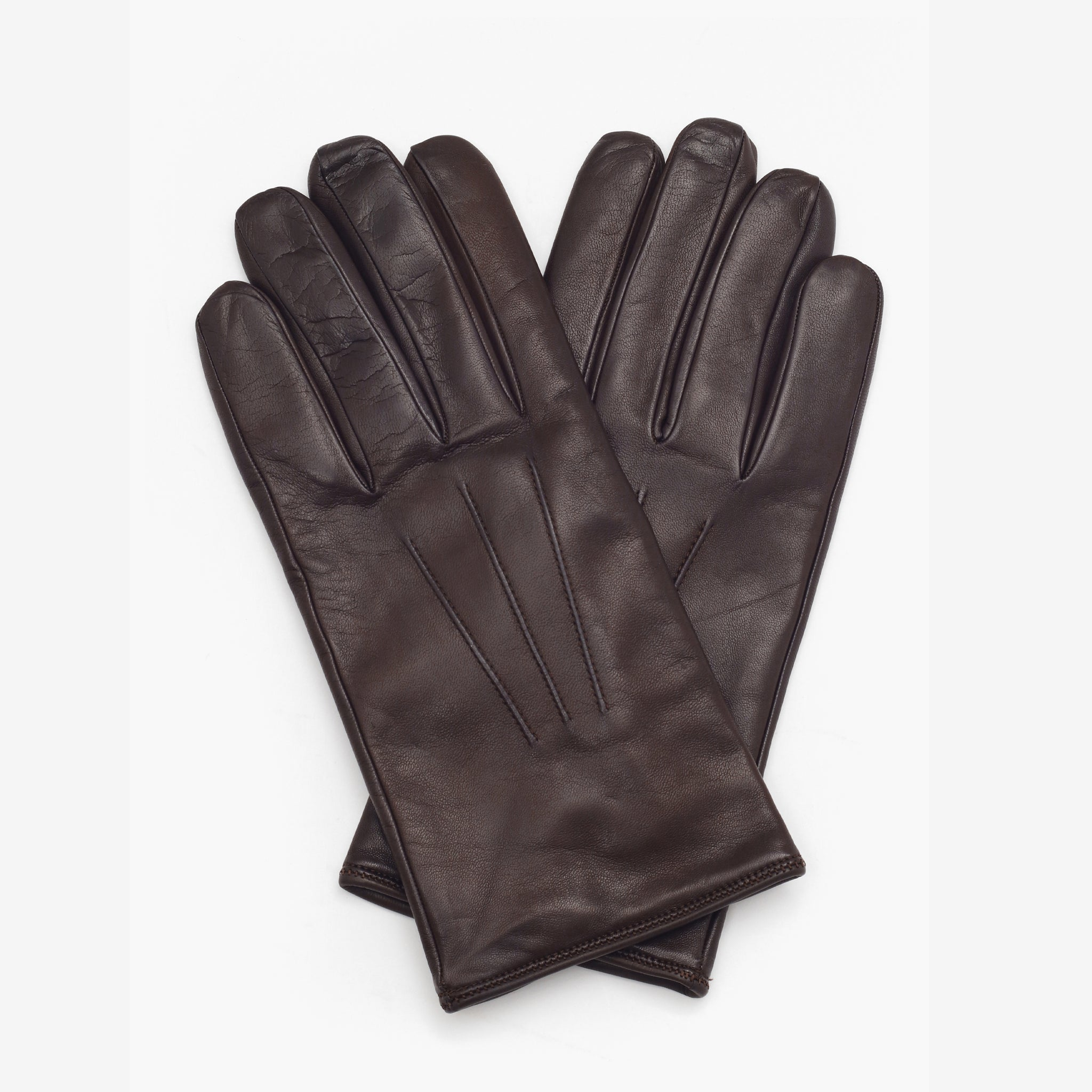 Cashmere Lined Nappa Gloves - Dark Brown