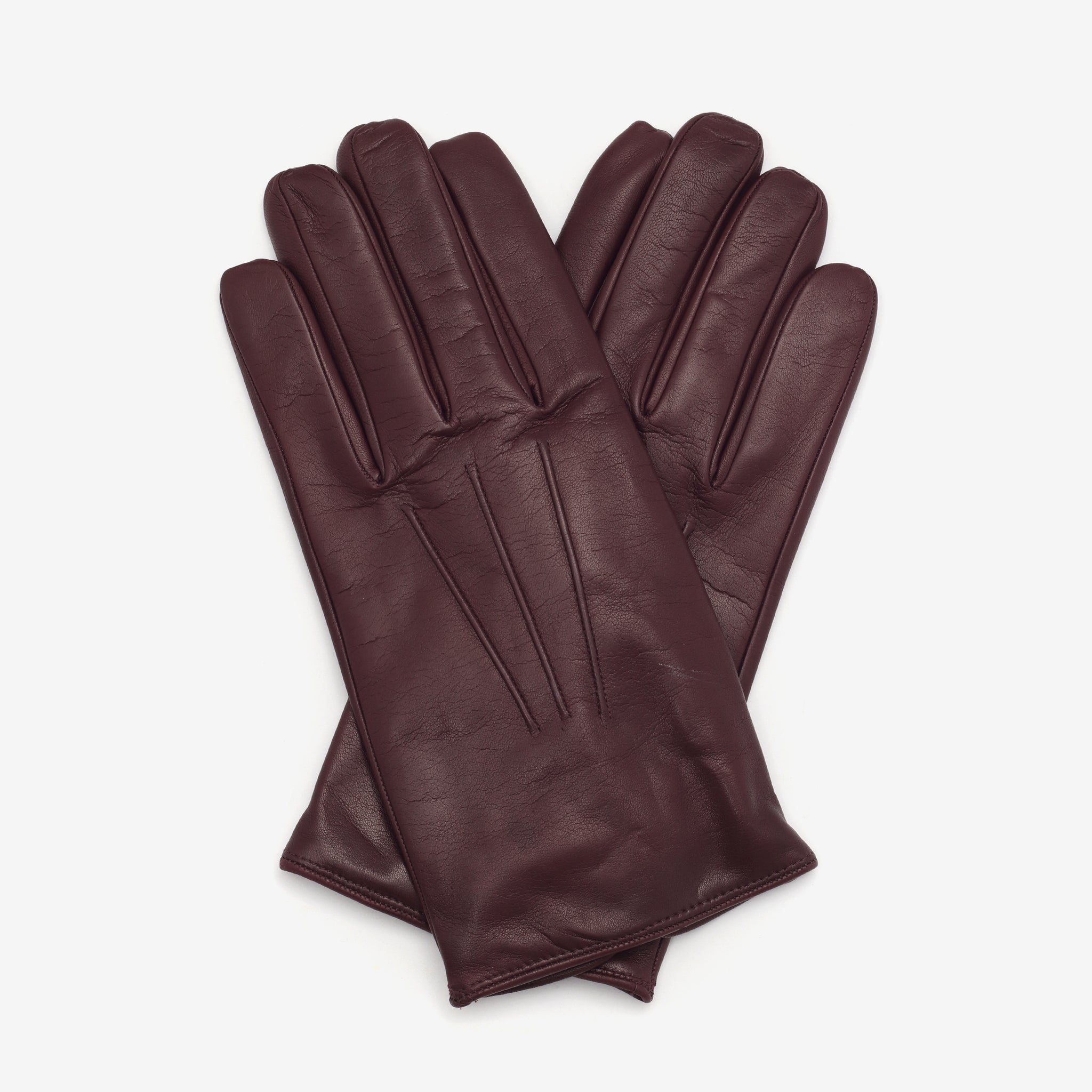 Cashmere Lined Nappa Gloves - Burgundy