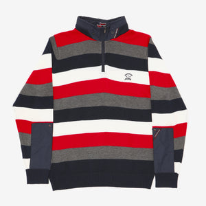 Striped 1/4 Zip Knitted Sweatshirt