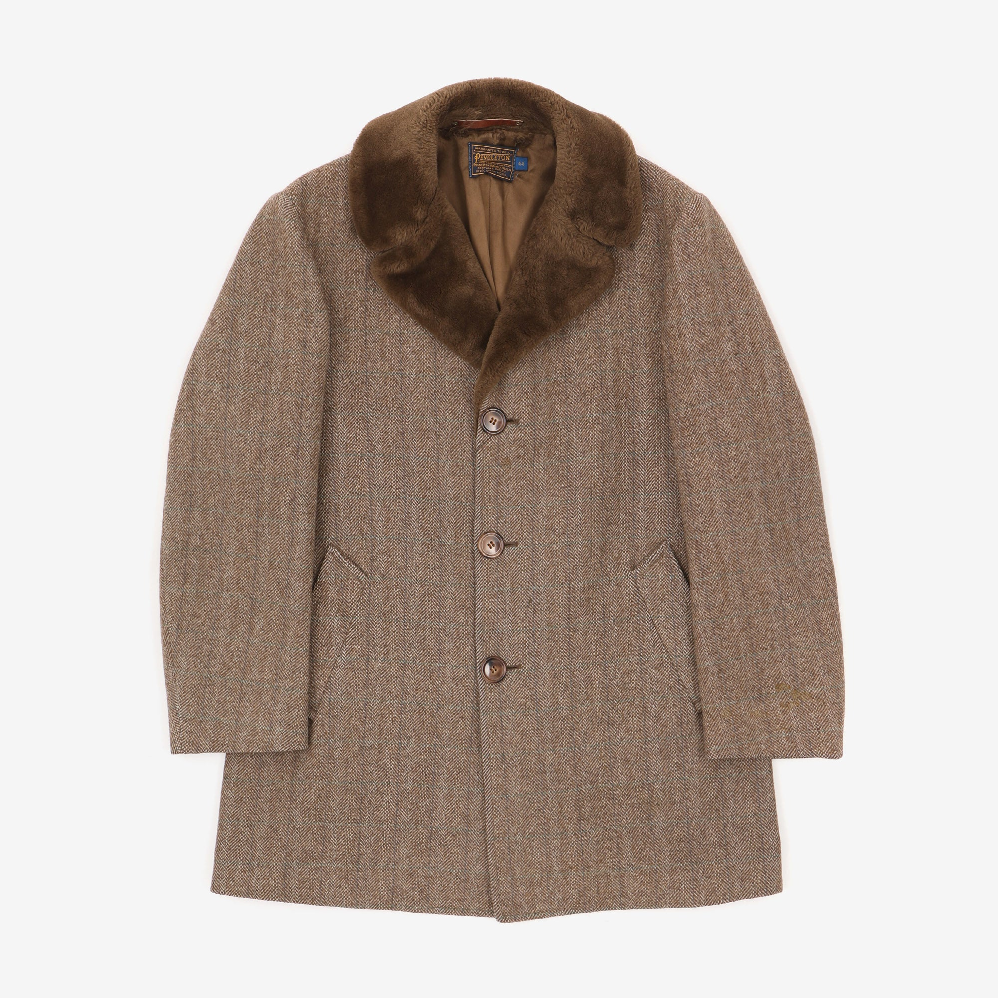 Shawl Collar Herringbone Wool Coat