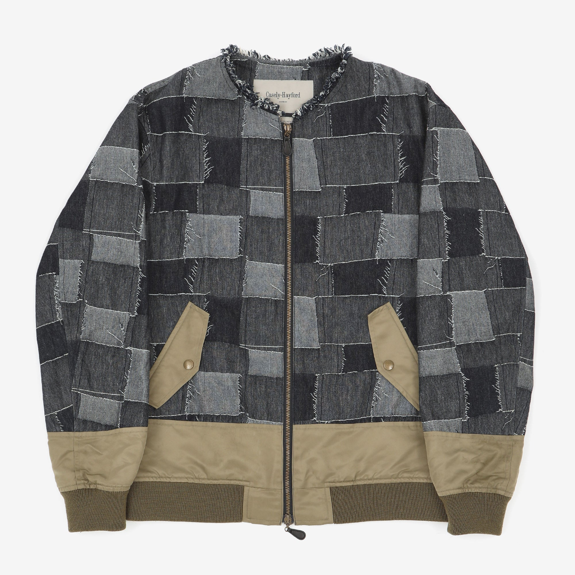 Patchwork Collarless Bomber Jacket