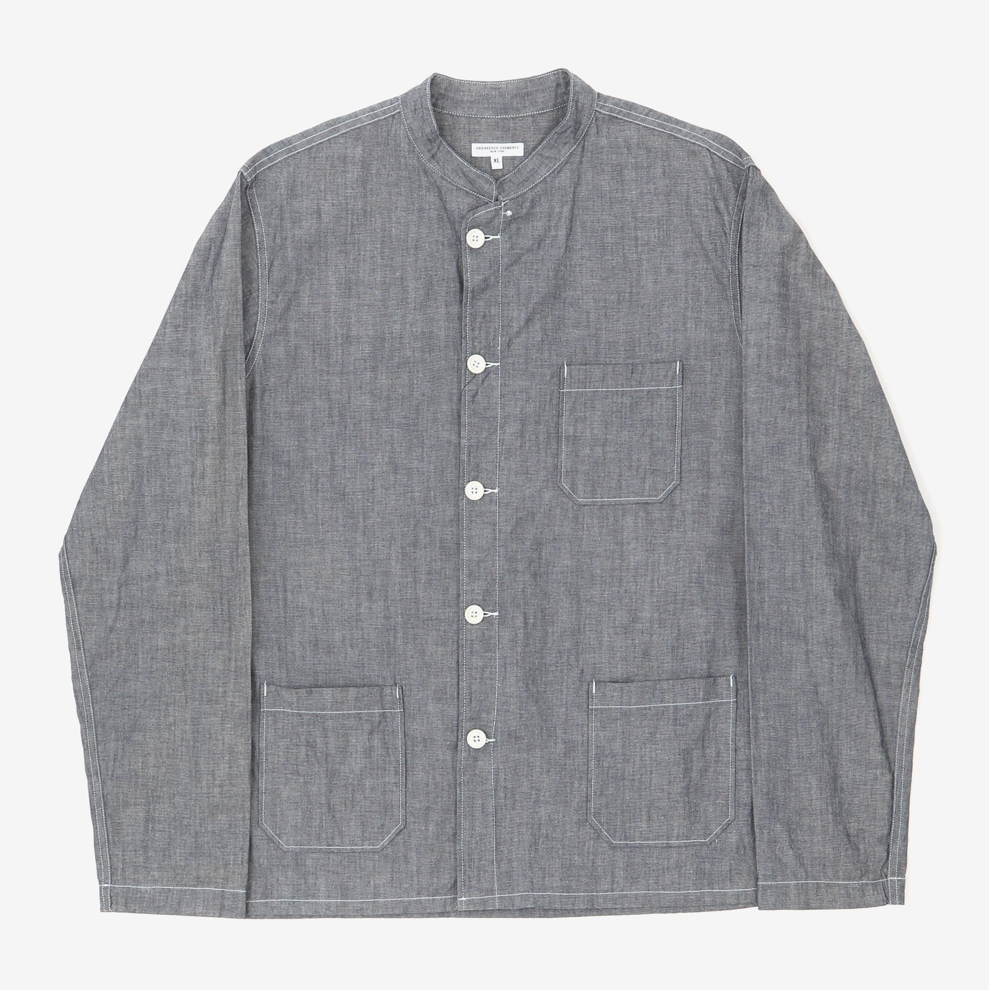 Chambray Collarless Overshirt