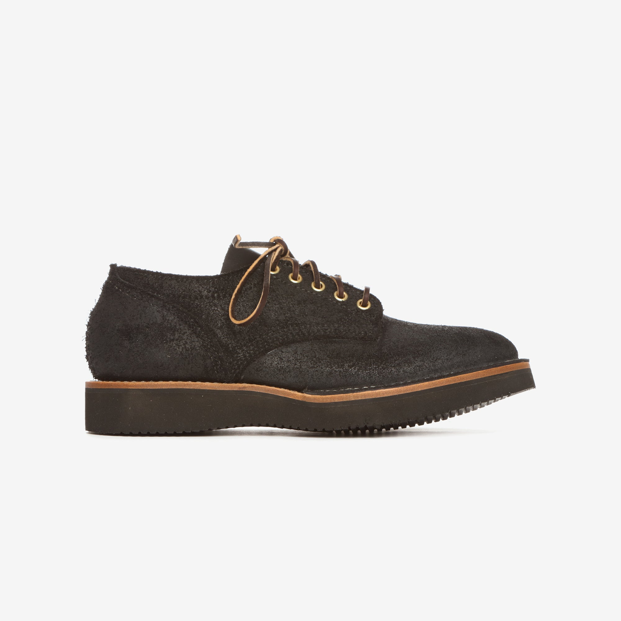 Black Roughout Suede Derby Shoes