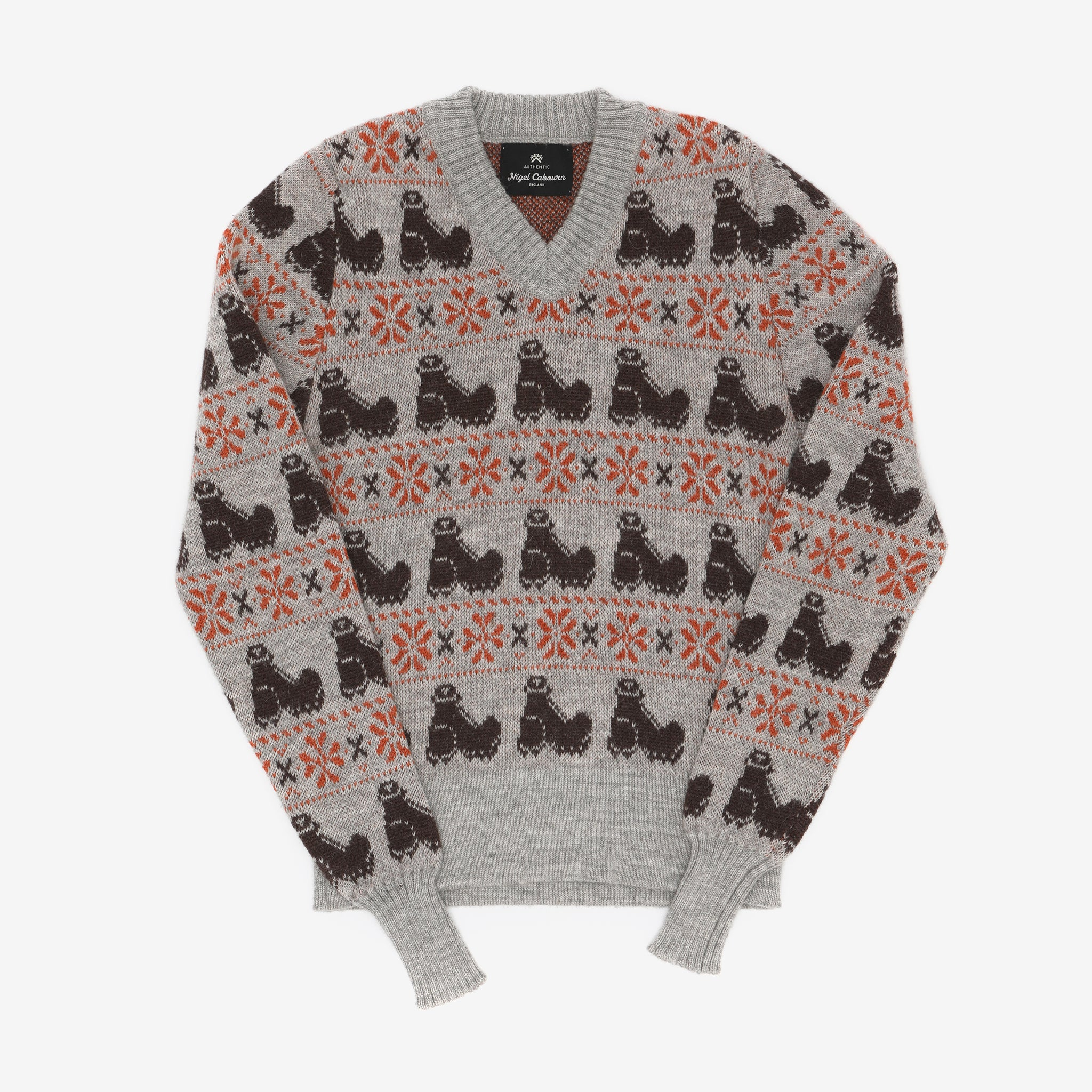 Nigel Cabourn V-Neck Printed Sweater