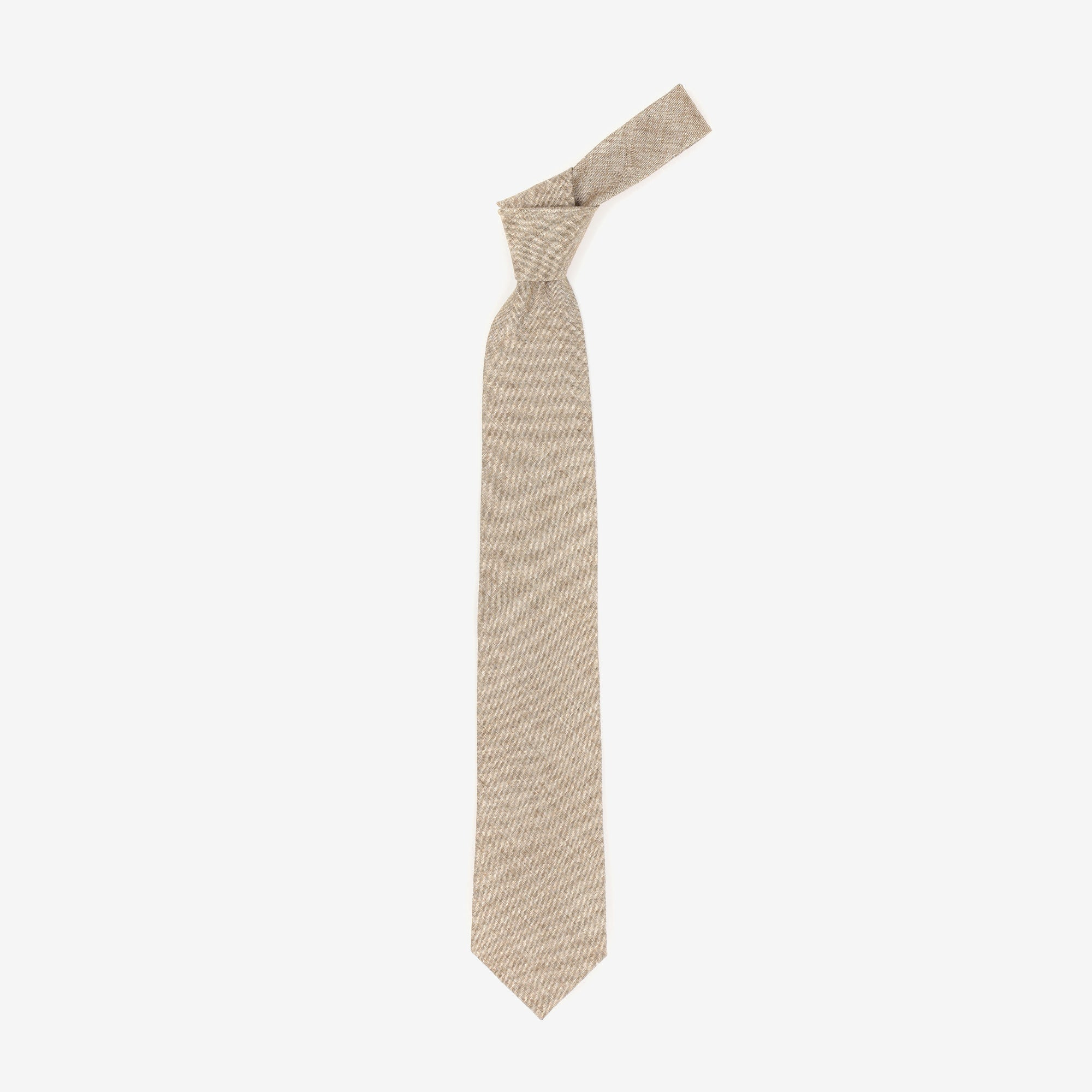 Brown Linen-Wool Tie