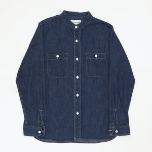 Band Collar Denim Work Shirt