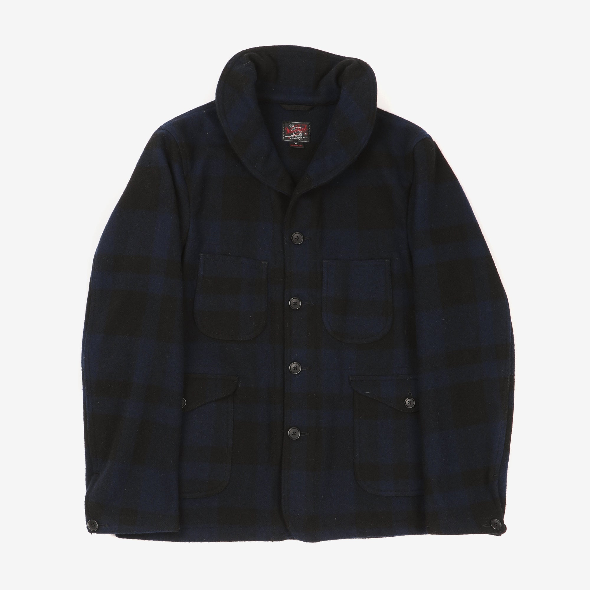 Plaid Rounded Collar Chore Coat