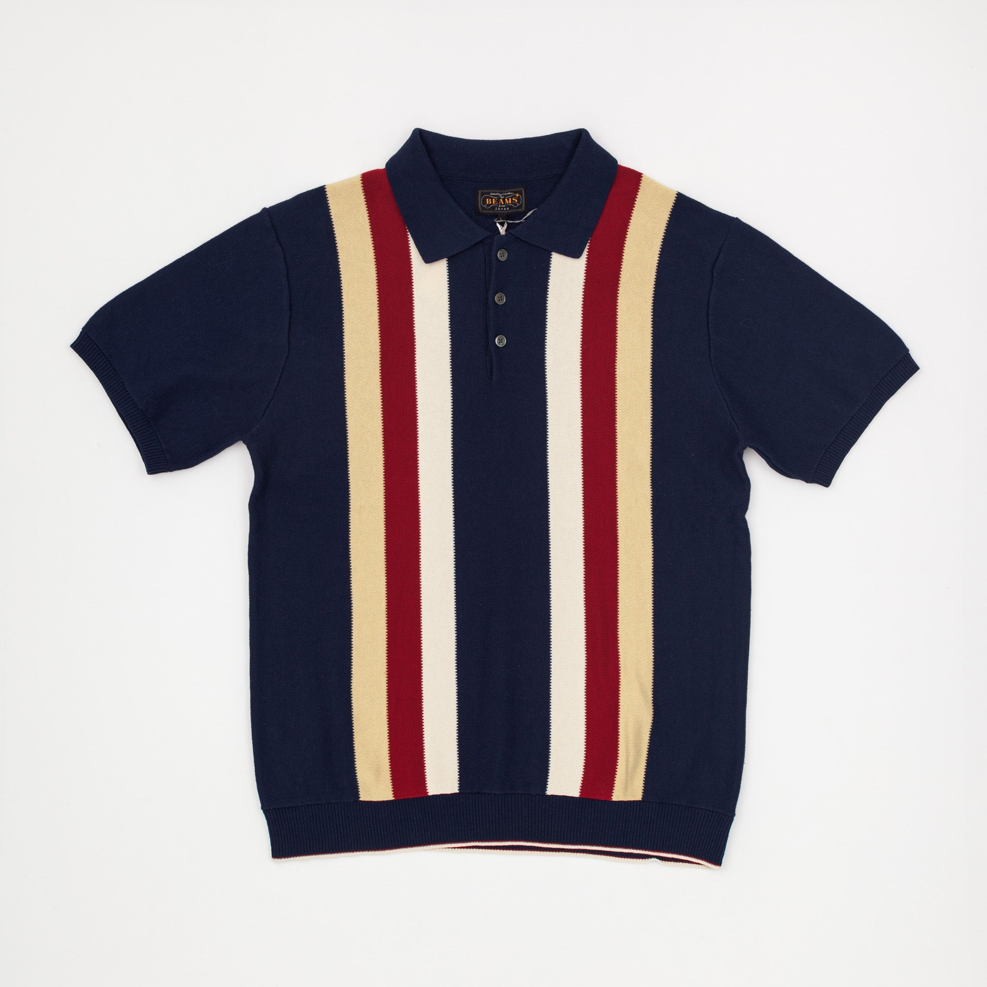 Slim Fit Striped Knitted Polo Shirt