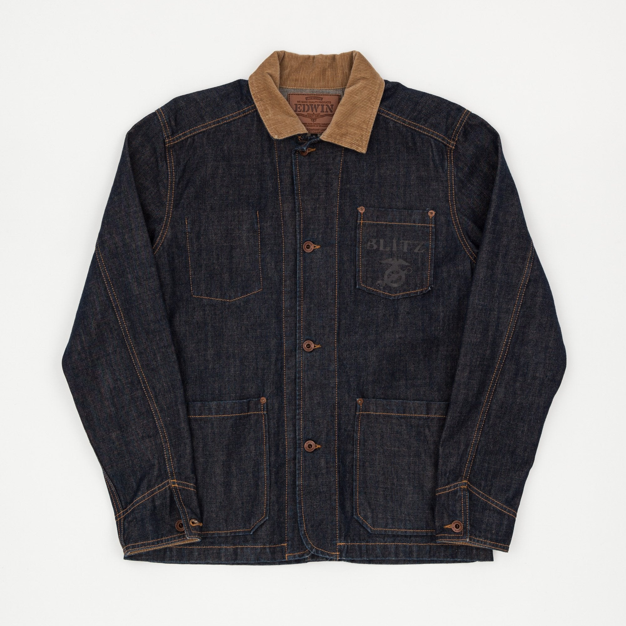 Edwin x Blitz Garage Denim Rinsed Chore Coat