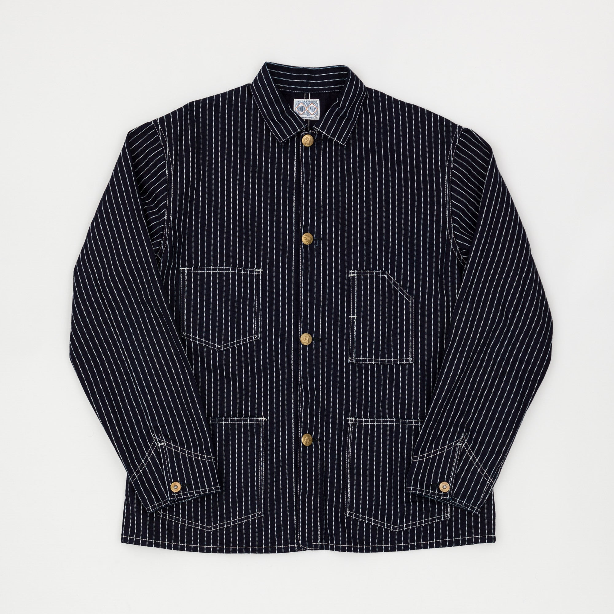 The Real McCoy's 8HU Indigo Wabash Stripe Work Coat