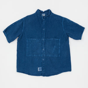 "Type 432 Woad Dyed Calico Short Sleeve ""Butterfly"" Shirt"