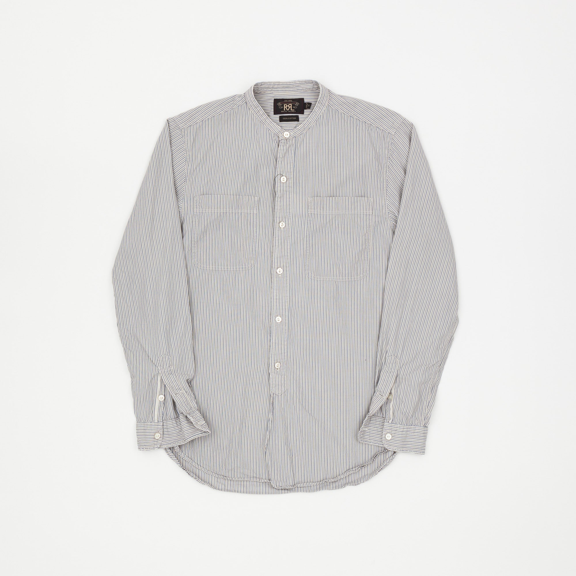 RRL Striped Banded Collar Shirt