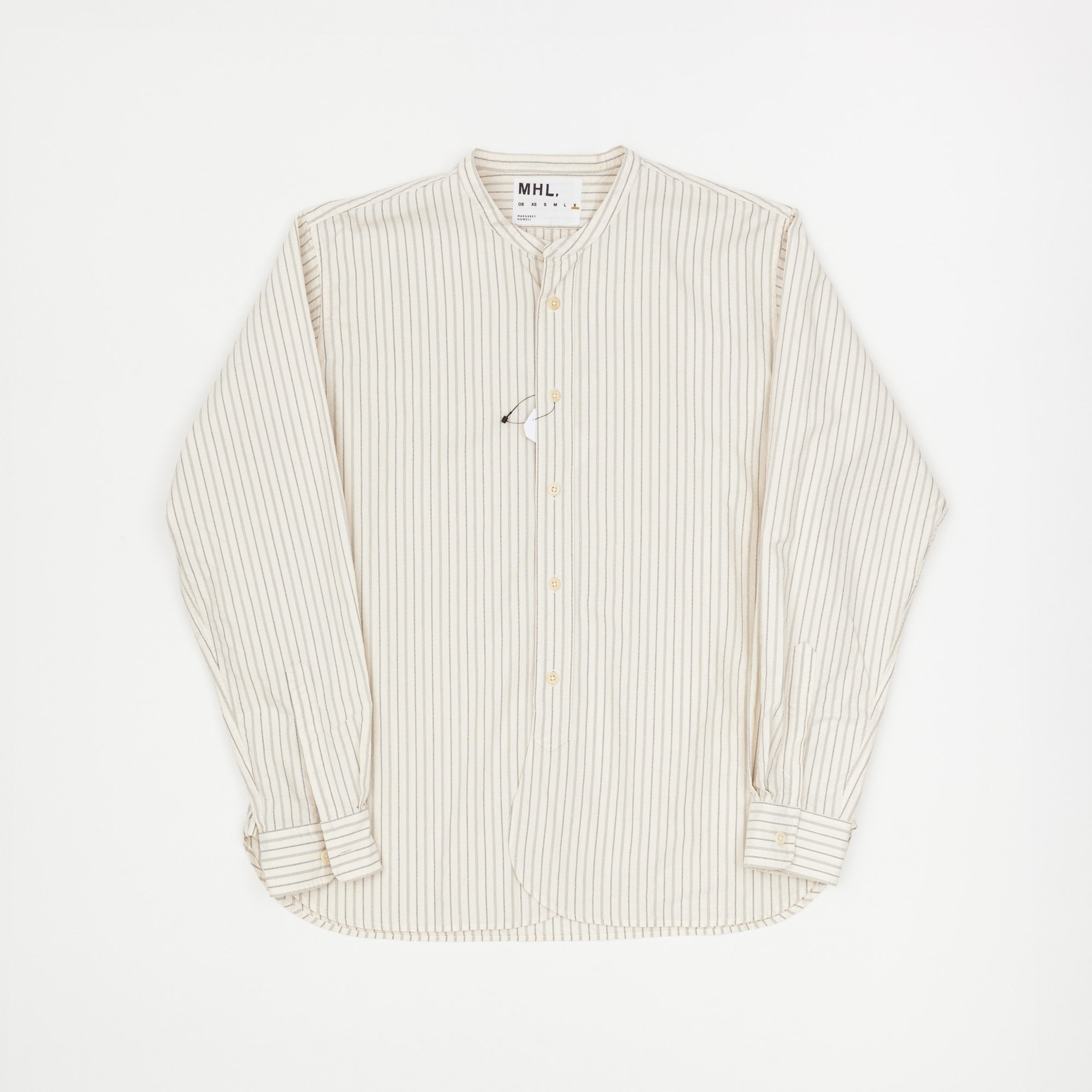 Rounded Collar Striped Shirt