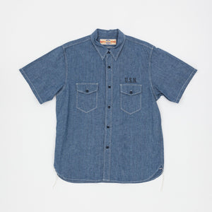 The Real McCoy's U.S Navy Chambray S/S Shirt (Stencil)