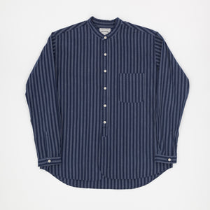 Striped Banded Collar Shirt
