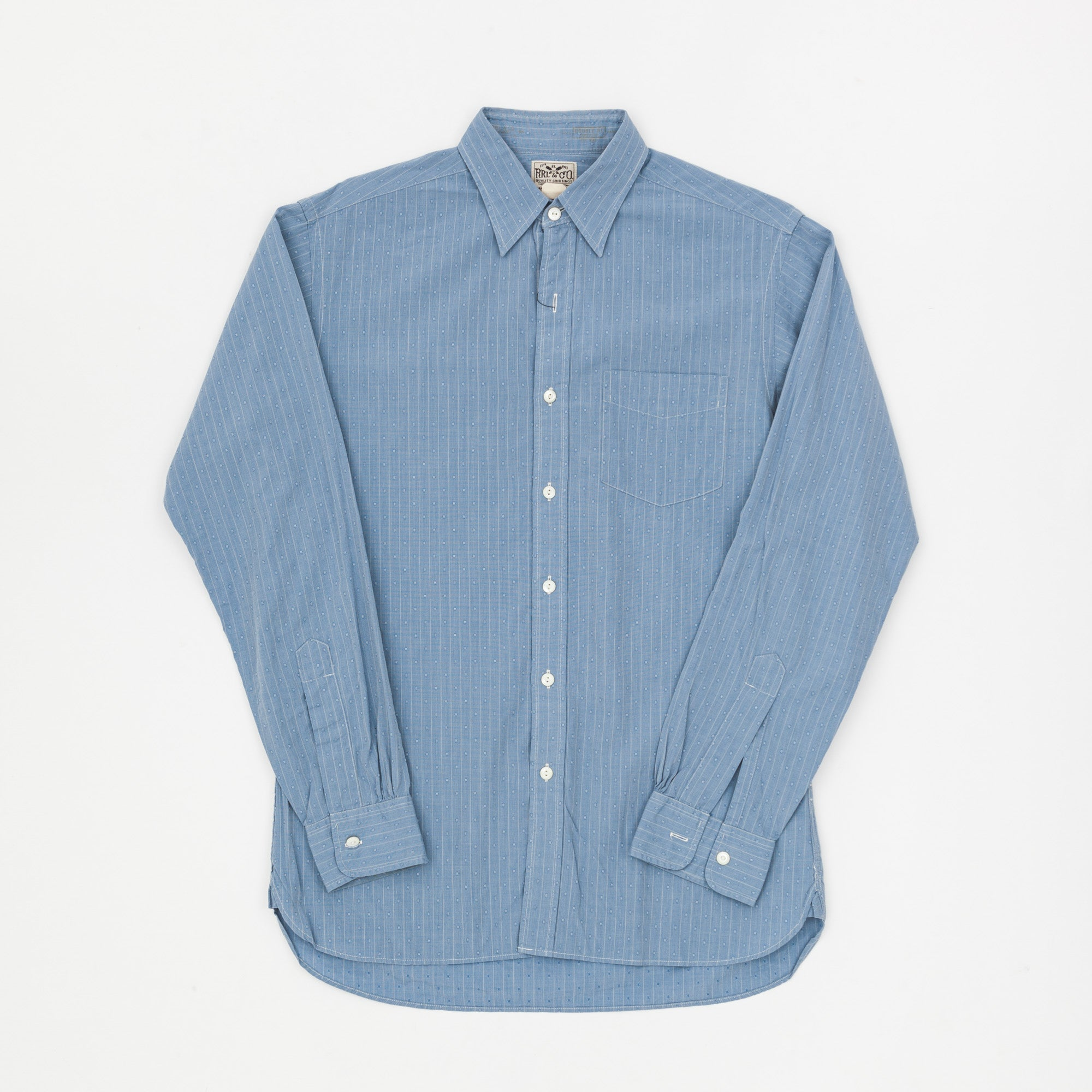 RRL Fine Cotton Formal Stripe & Dots Shirt