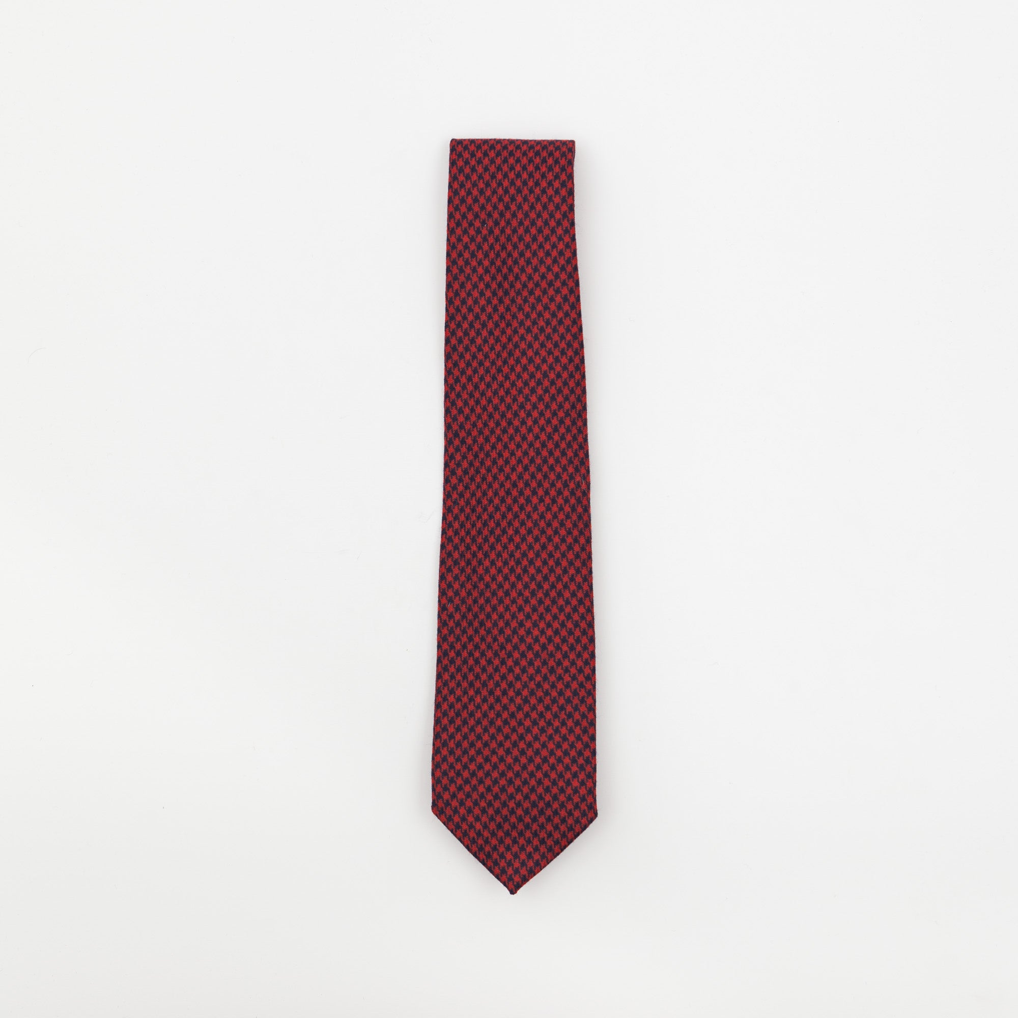 Red Dogtooth Check Cotton Tie
