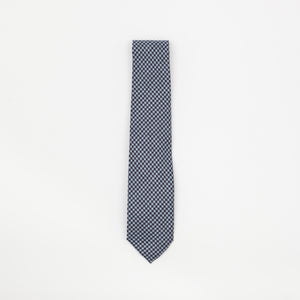 Blue Dogtooth Check Tie