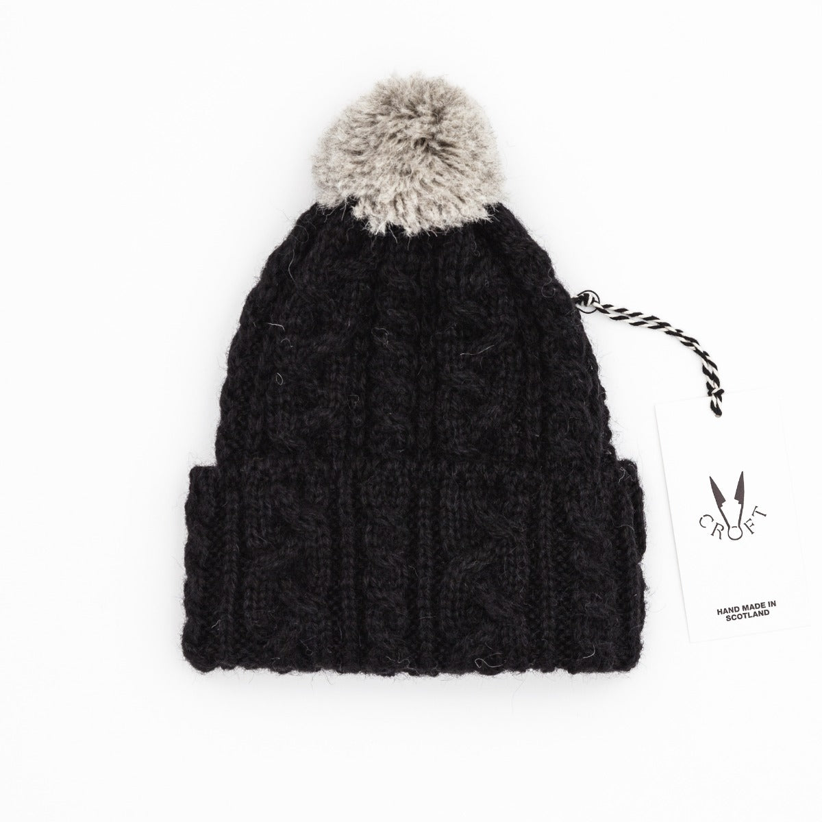Croft Cable Knit Hat - Alpaca / British Wool Black