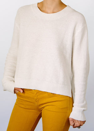 Wendy Hi-Lo Hemp Sweater - White