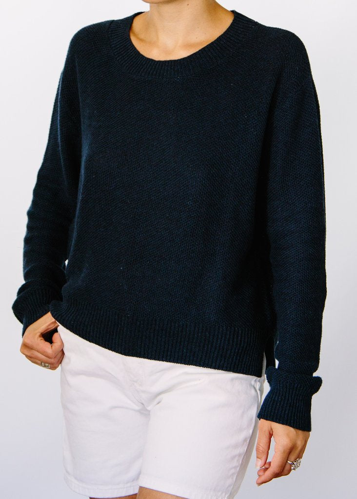 Wendy Hi-Lo Hemp Sweater - Navy