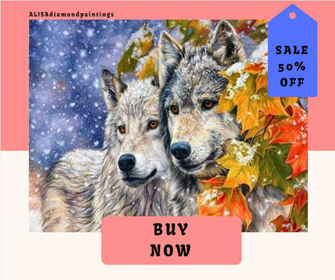 Square Drill Diamond Paint Wolves Alisa Diamond Paintings