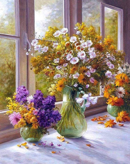 Diamond Painting Rhinestone Kit Flowers By The Window Alisa Diamond Paintings